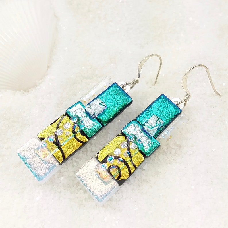 Teal dichroic glass earrings fused glass art unique jewelry image 0