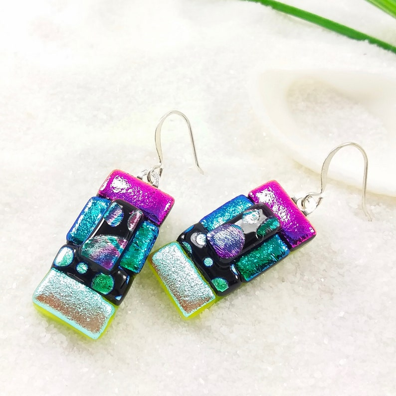 Fused dichroic glass dichroic earrings fused glass jewelry image 0