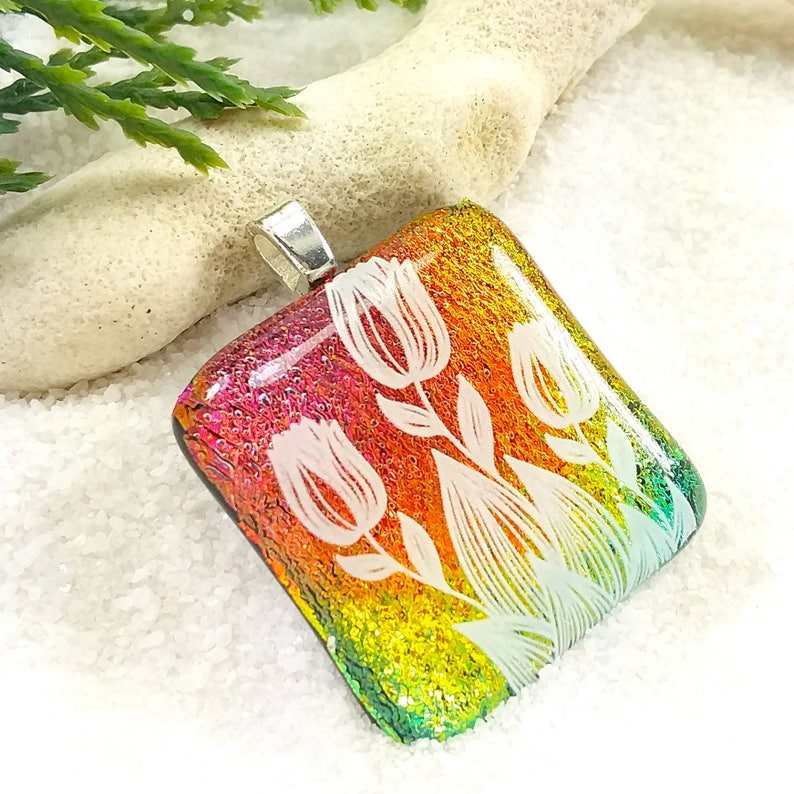 Tulip flower jewelry Fused Dichroic glass pendant Dichroic image 0