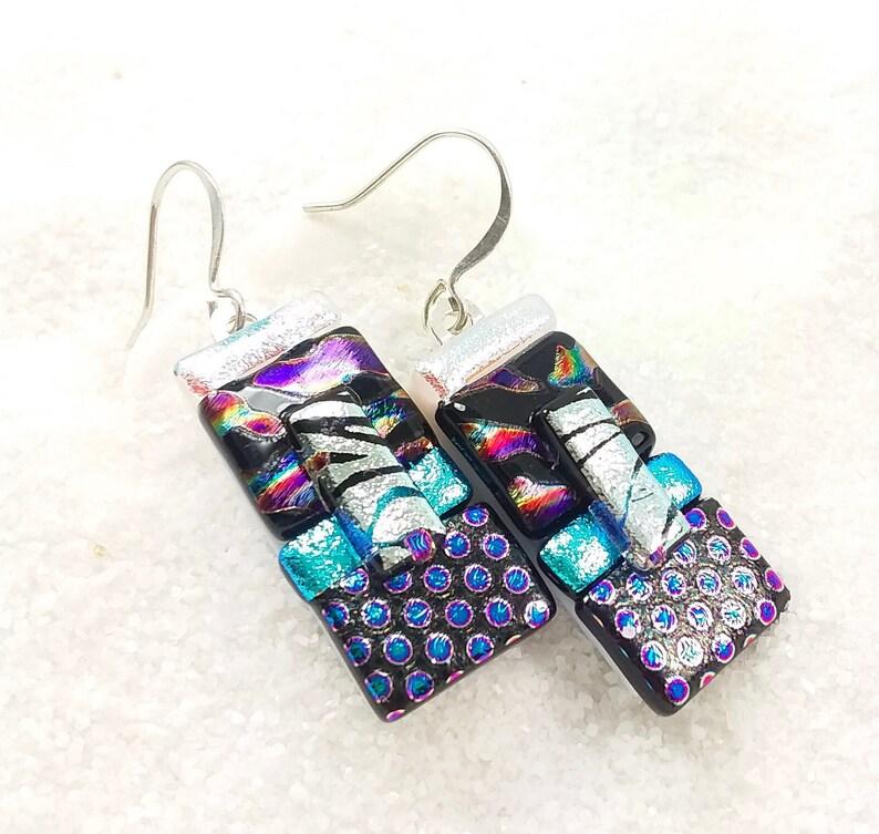 Purple dichroic earrings fused glass earrings dichroic image 0