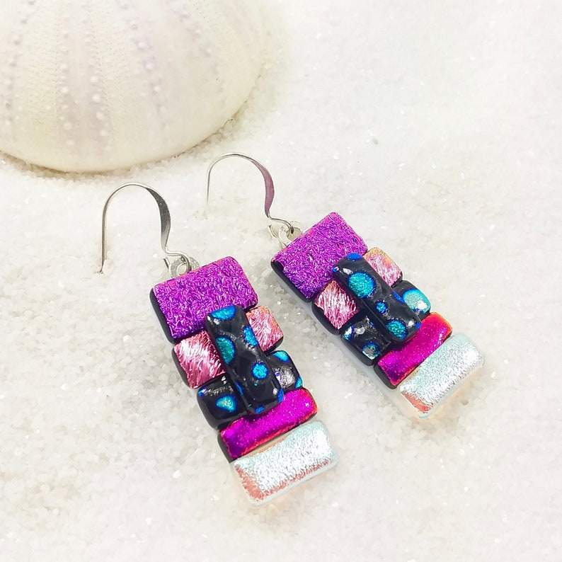 Pink dichroic earrings dichroic glass dichroic jewelry image 0