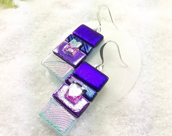 Dichroic glass earrings, fused dichroic jewelry, Glass earrings, unique earrings, artisan dichroic jewelry, statement earrings, glass fusion