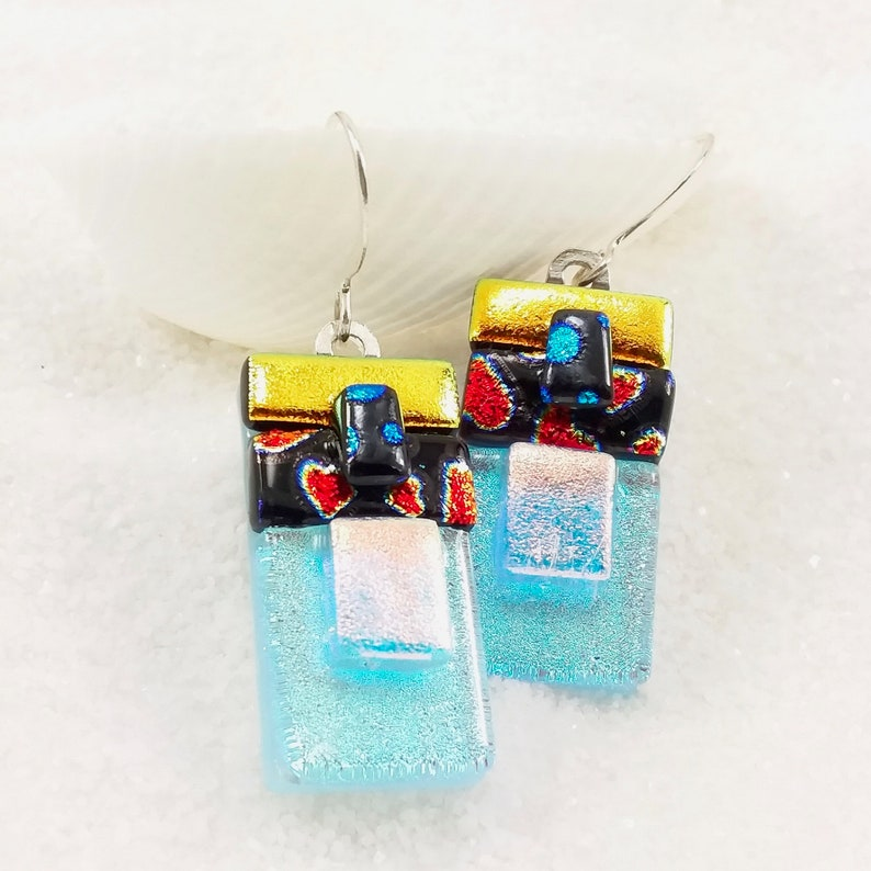 Red heart earrings dichroic earrings fused glass jewelry image 0