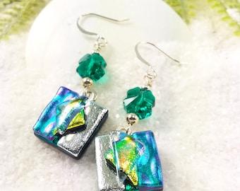 Shamrock earrings, Irish Celtic Jewelry, Clover earrings, green earrings, dichroic glass earrings, dichroic jewelry, fused glass jewelry