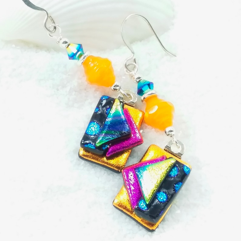 Dichroic glass earrings fused dichroic jewelry Glass image 0