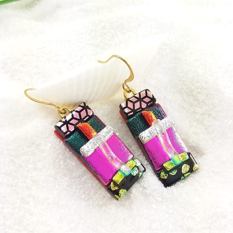 Fused glass dichroic earrings dichroic jewelry glass image 0