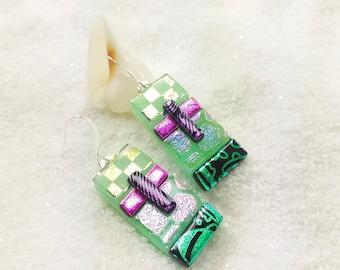 Dichroic glass earrings, statement  earrings, green jewelry, fused glass jewelry, fused dichroic glass, handmade jewelry, statement earrings