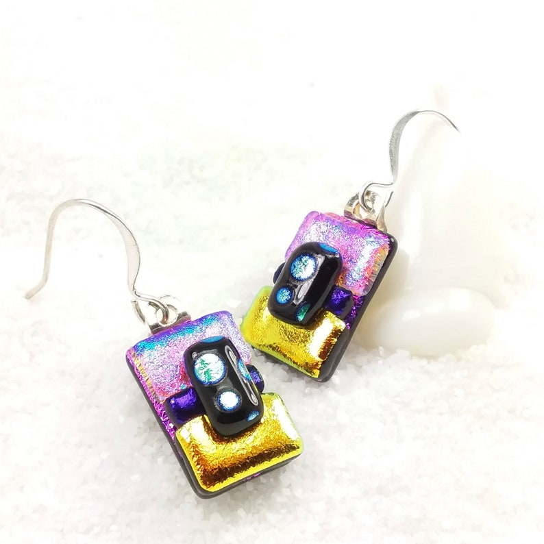 Pink short earrings dichroic earrings fused glass jewelry image 0