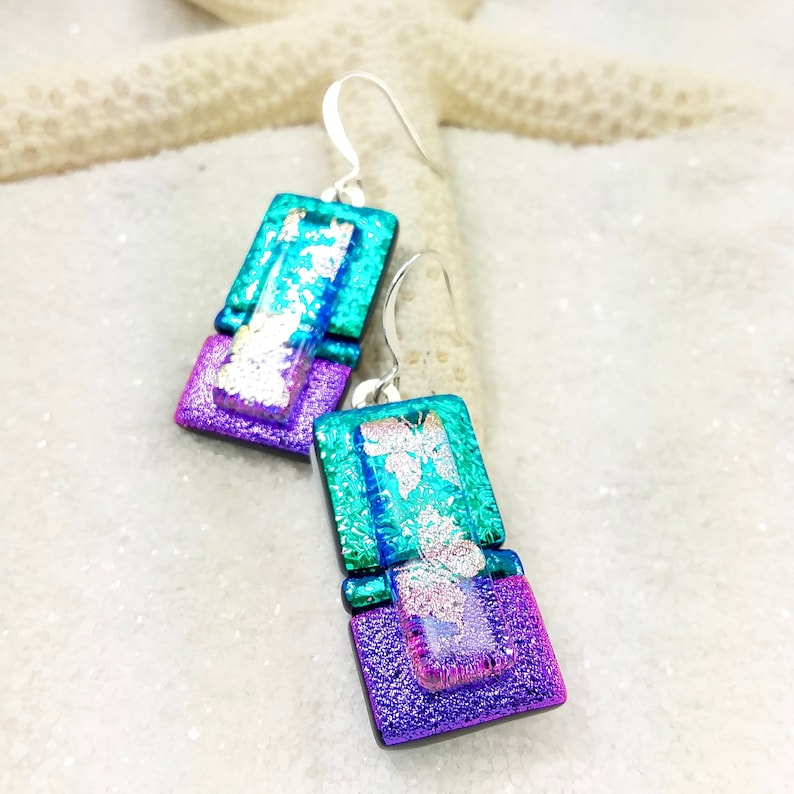 Dichroic jewel earrings fused glass dichroic glass fusion image 0