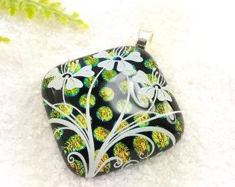 Columbine flower pendant, Dichroic glass flower pendant, dichroic jewelry, dichroic necklace, fused dichroic glass, handmade jewelry,Flowers