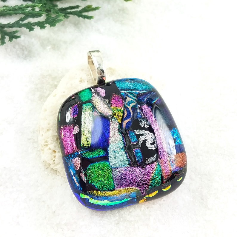 Fused glass dichroic jewelry  dichroic pendant rainbow image 0