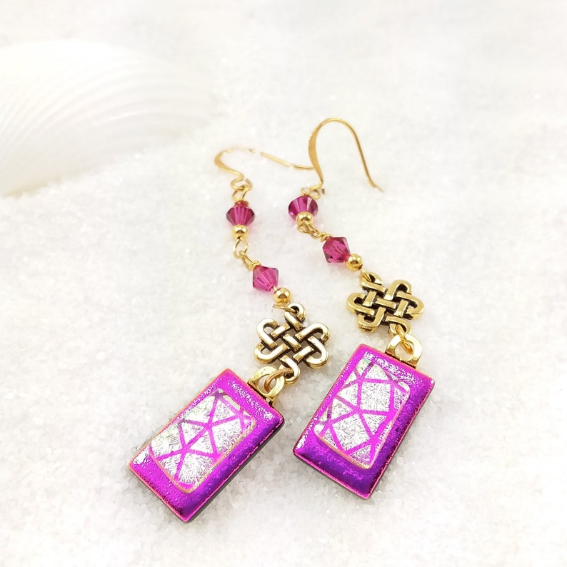 Fused Dichroic glass earrings Dichroic beads Hot pink image 0