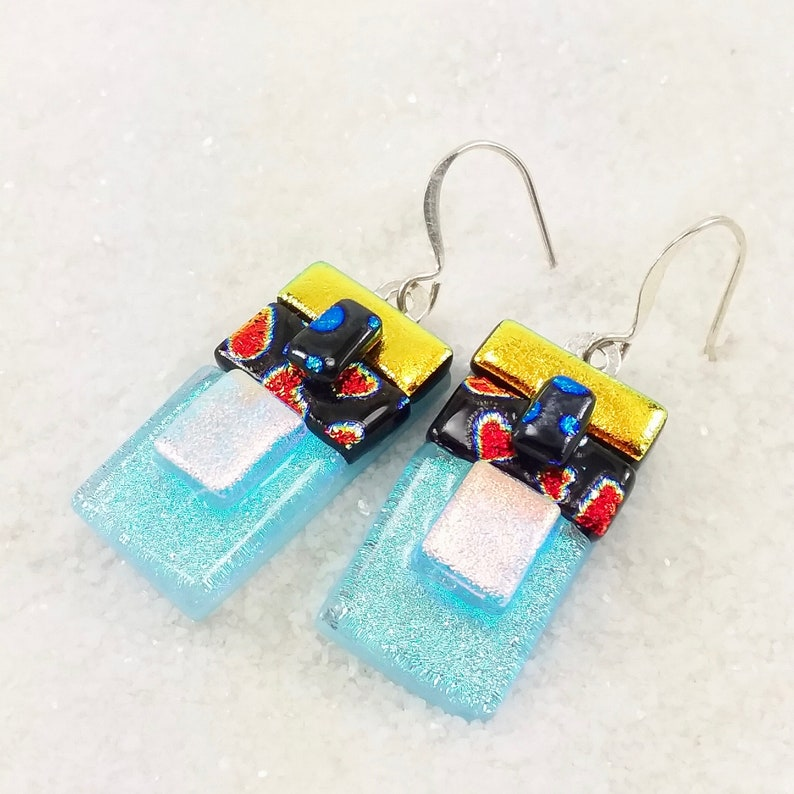 Red heart earrings dichroic earrings fused glass jewelry image 0