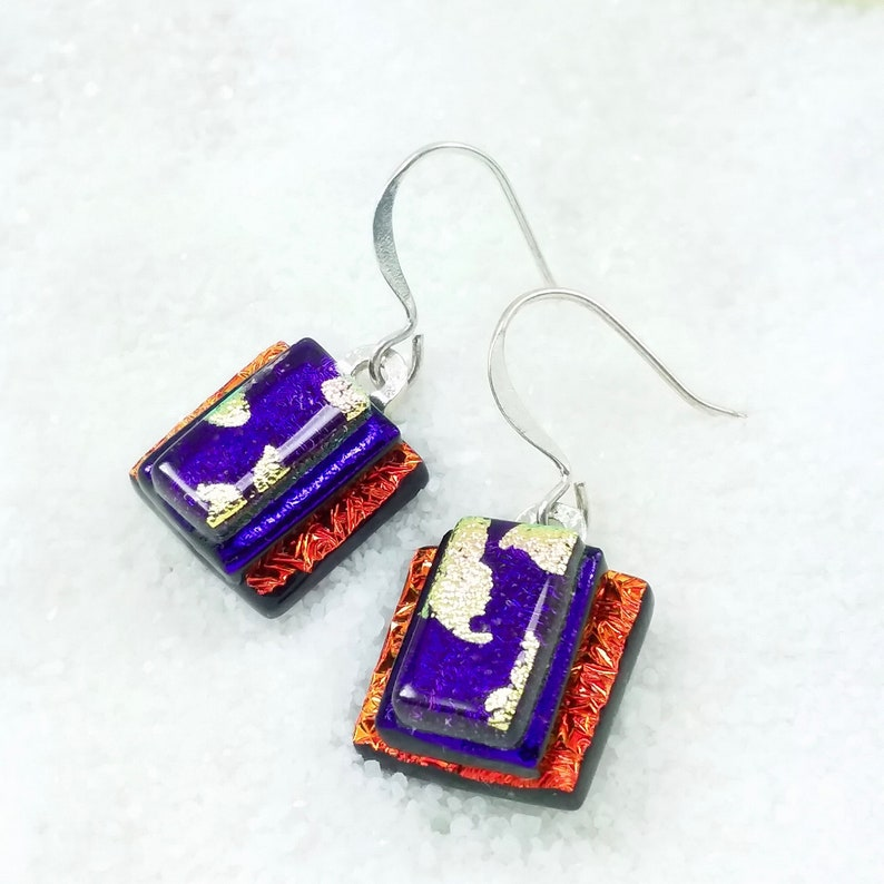 Red earrings dichroic glass jewelry dichroic earrings image 0