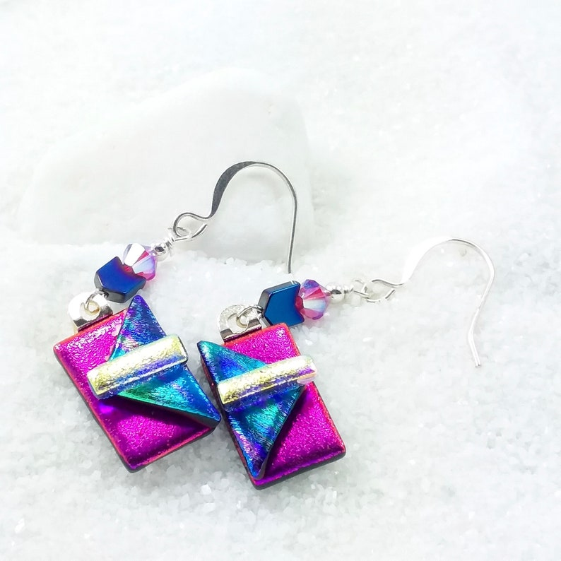 Hot pink earrings dichroic glass jewelry dichroic earrings image 0