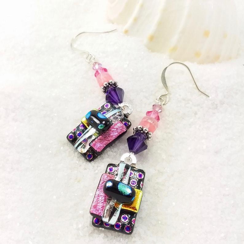 Polka Dot jewelry Fused dichroic beads crystalsDichroic image 0