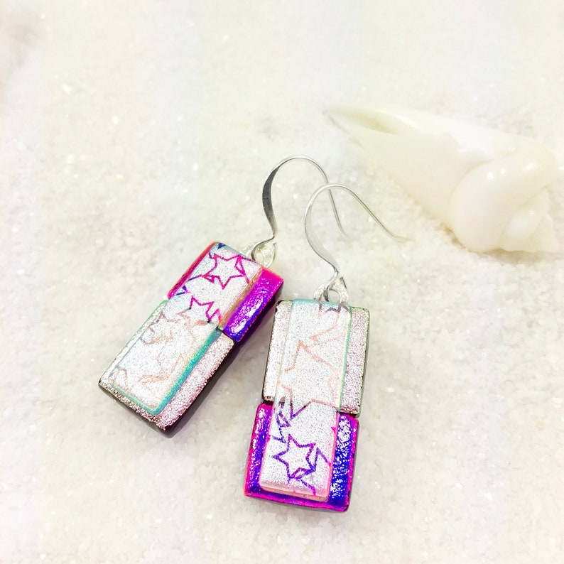 Unique Fused Glass Earrings Dichroic Glass Earrings Dichroic image 0