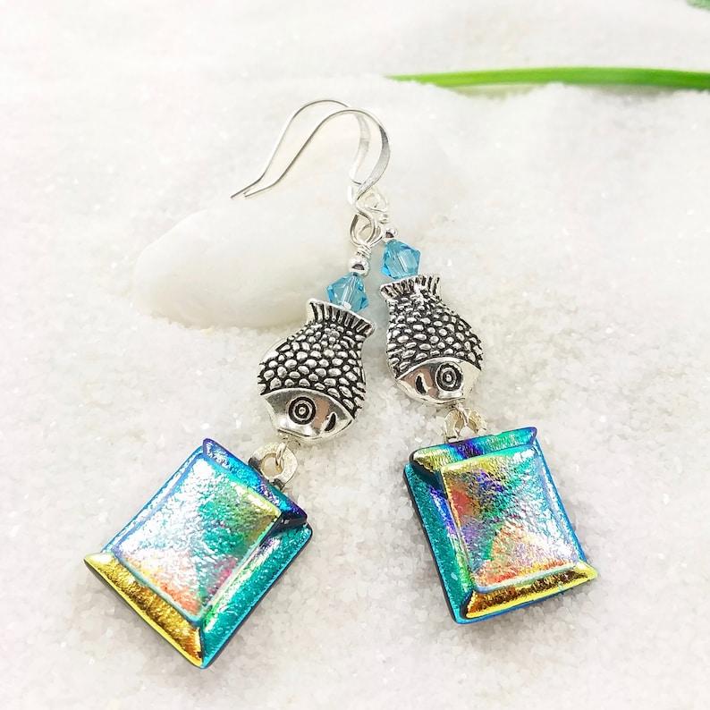 Aqua blue dichroic earrings glass jewelry fused dichroic image 0