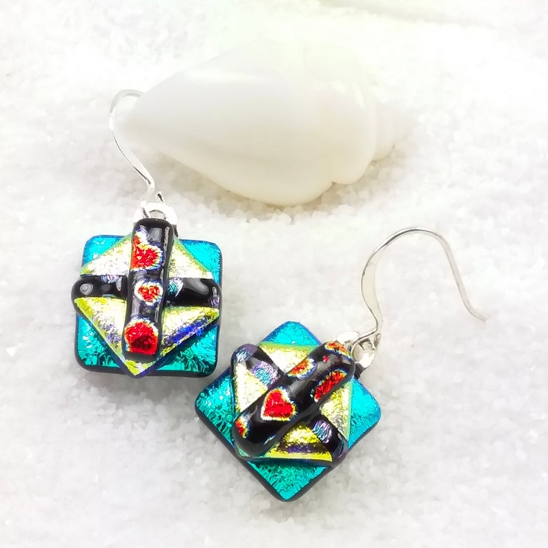 Fused dichroic glass earrings color block jewelry dichroic image 0