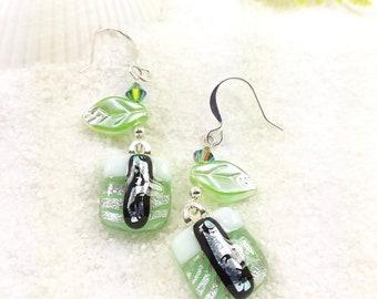 Mint green dichroic glass earrings, Botanical earrings, Leaf jewelry, Dichroic earrings, fused glass jewelry, dichroic jewelry, dangle