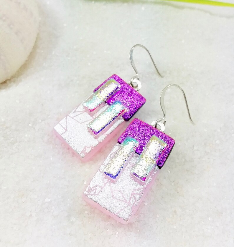 Dichroic pink earrings star celestial jewelry fused glass image 0