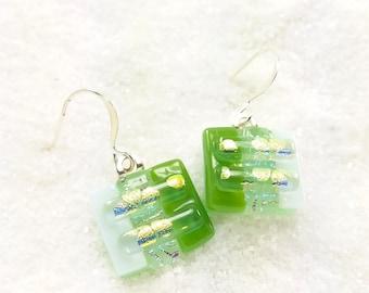 Dichroic fused glass earrings, fused glass, lime green earrings, dichroic jewelry, handmade gifts, dangle earrings, short earrings, artistic