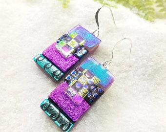 Dichroic glass earrings, tropical earrings, fused glass jewelry, dichroic fusion, glass earrings, fun jewelry, rainbow dichroic glass art