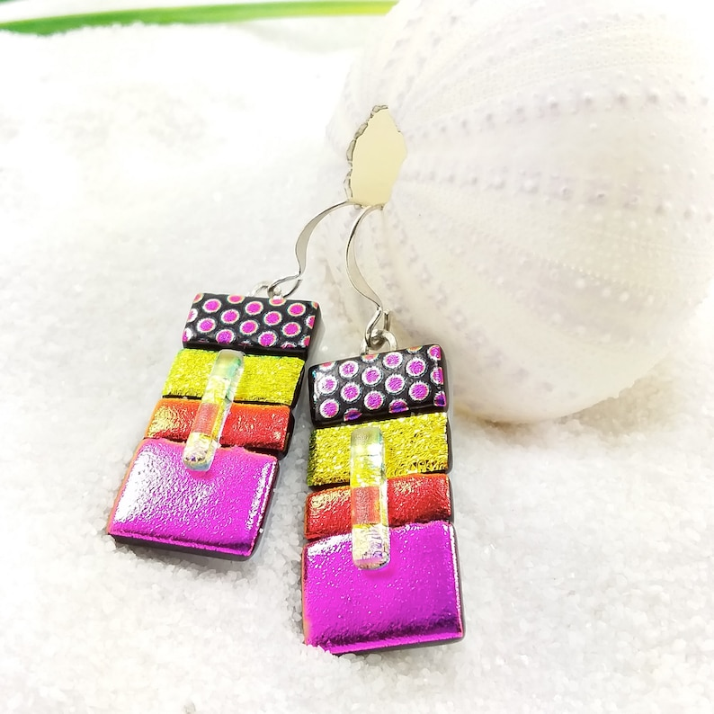 Dichroic glass earrings fused glass jewelry dichroic fused image 0