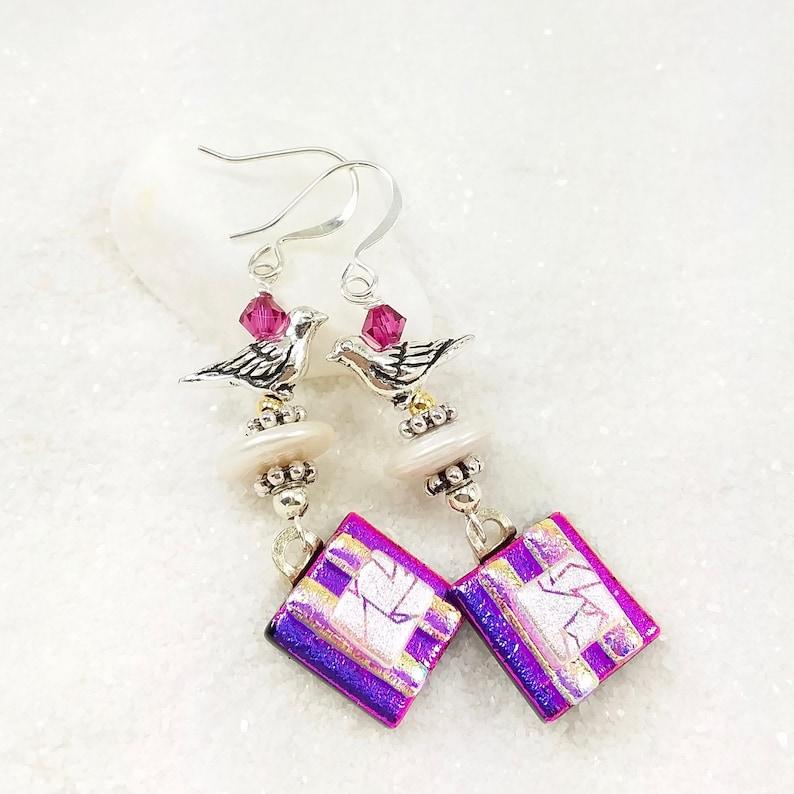 Dichroic glass earrings Bird earrings fused glass jewelry image 0