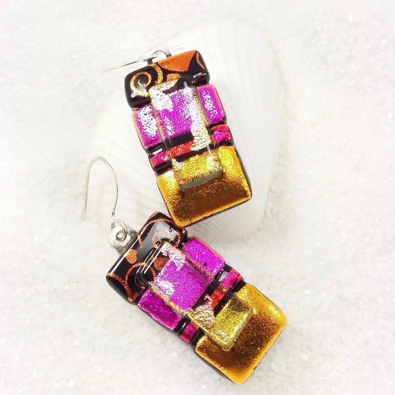 Dichroic glass earrings Valentines Day fused glass jewelry image 0