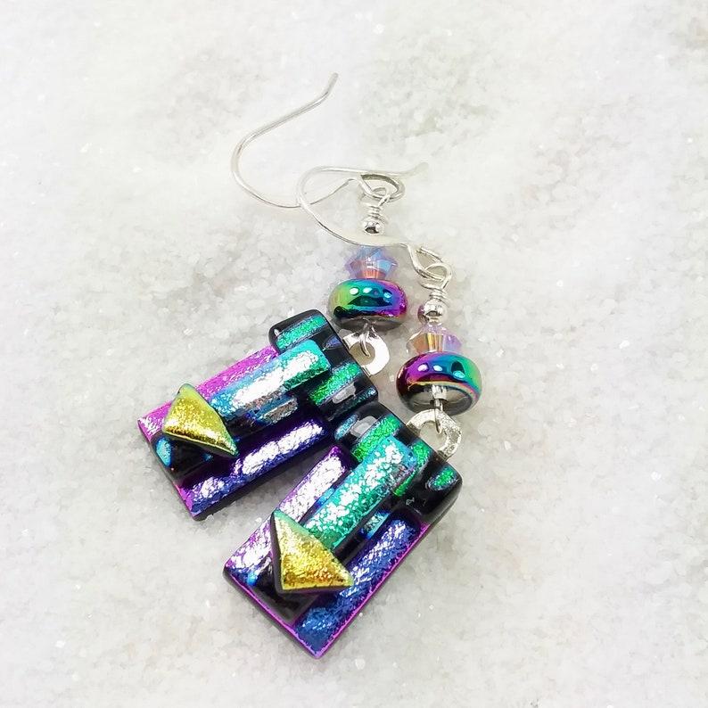 Dichroic glass earrings Rainbow earrings Dichroic jewelry image 0