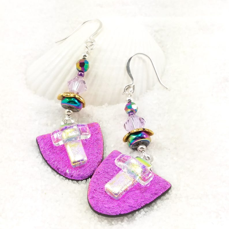 Dichroic Glass Earrings Fused dichroic earrings Hana Sakura image 0