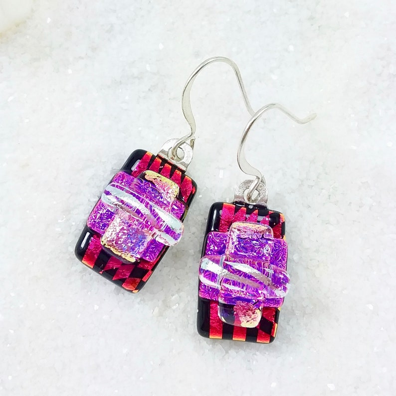 Ruby red earrings dichroic earrings fused glass jewelry image 0