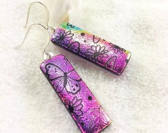 Butterfly earrings, rainbow pink earrings, dichroic earrings, fused glass jewelry, dichroic jewelry, statement earrings, butterfly garden