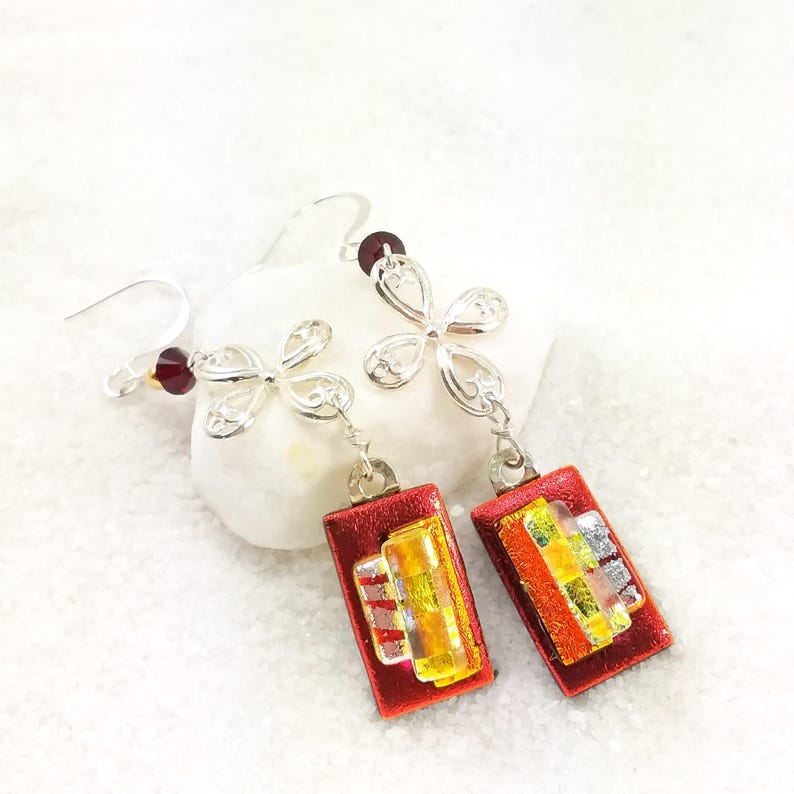 Red dichroic glass jewelry fused dichroic glass earrings image 0