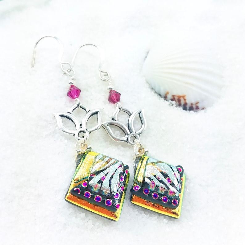 Lotus charm earrings dichroic glass earrings fused dichroic image 0