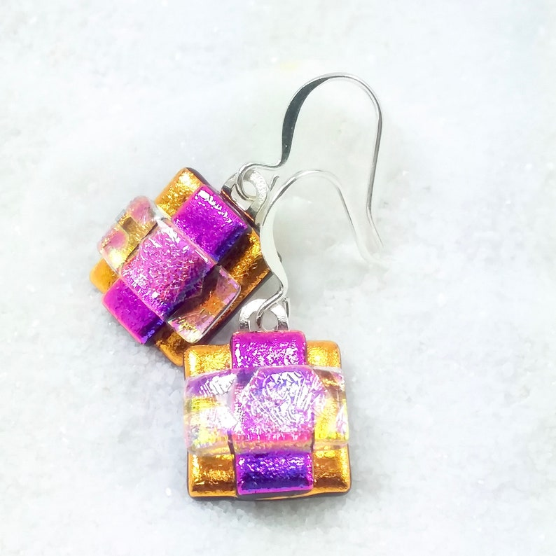 Dichroic fused glass earrings dichroic jewelry glass image 0