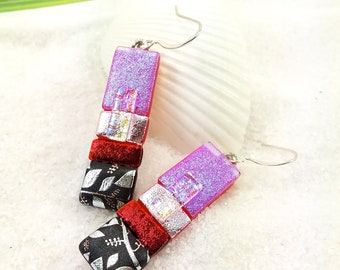 Dichroic Earrings, fused glass earrings, Color block earrings, Dichroic jewelry, statement earrings, trending now, dichroic glass jewelry
