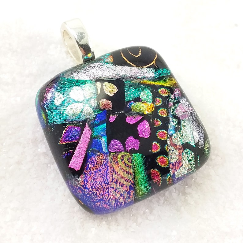Fused dichroic jewelry Fused glass necklace rainbow pendant image 0