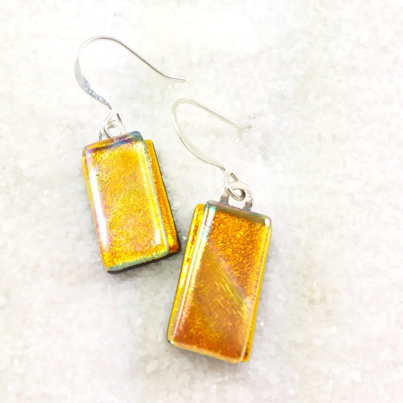 Dichroic earrings fused glass jewelry orange dichroic image 0