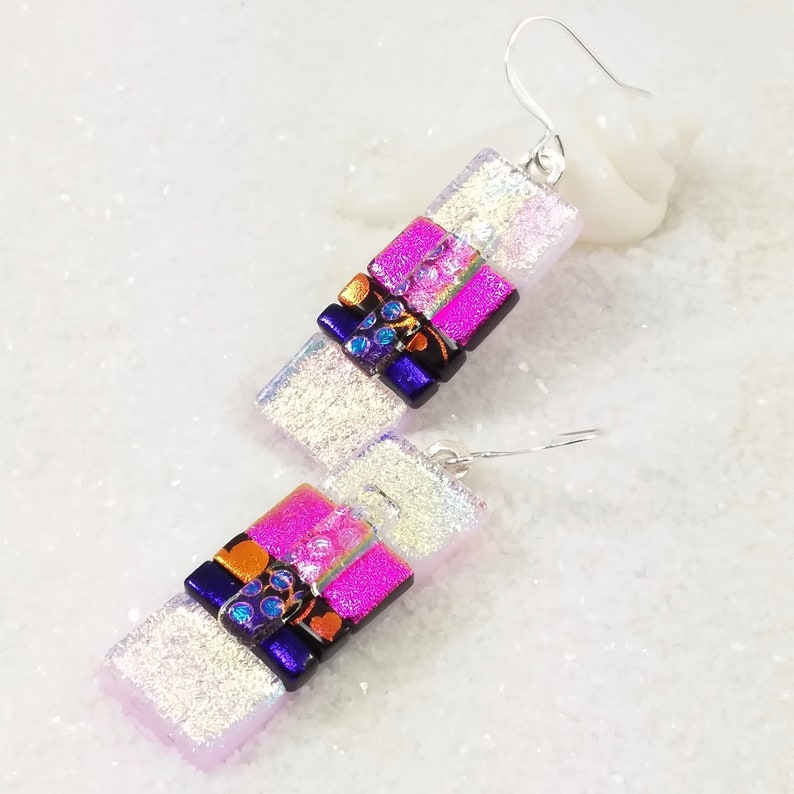 Dangle dichroic earrings fused glass art dichroic beads image 0