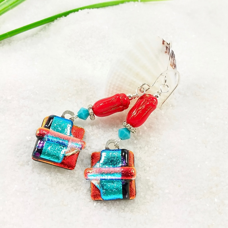 Red dichroic glass earrings glass fusion jewelry tulip image 0