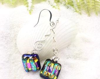 Purple Dichroic glass earrings, fused jewelry, dichroic earrings, glass fusion, fused glass art, dichroic jewelry, Hana Sakura, handmade