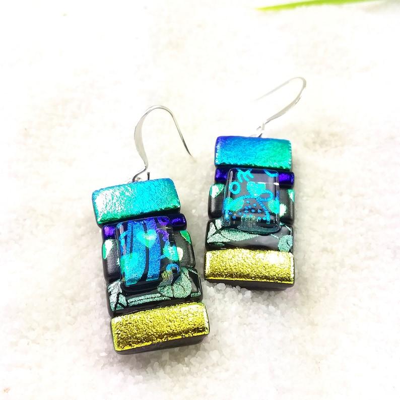 Dichroic jewelry dichroic earrings fused glass earrings image 0
