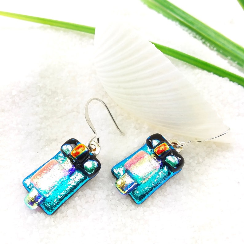 Blue dichroic glass earrings dichroic earrings fused glass image 0