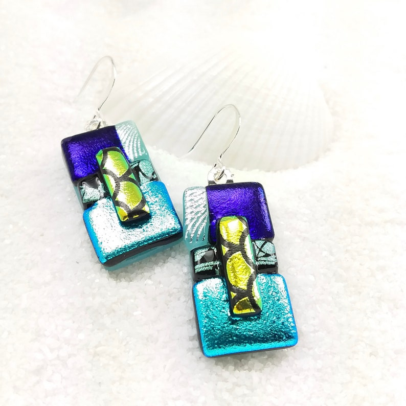 Aqua blue earrings dichroic glass earrings fused dichroic image 0