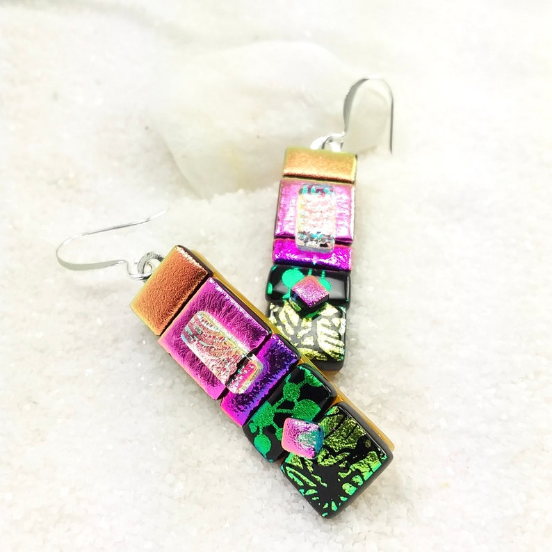 Dichroic earrings fused glass jewelry dichroic jewelry image 0