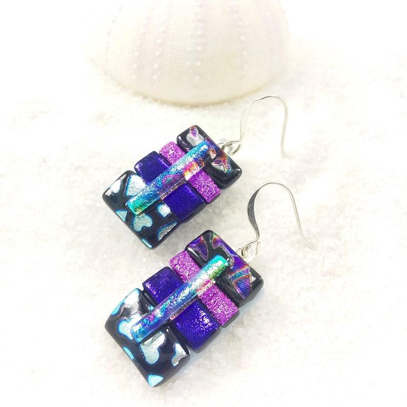 Purple earrings dichroic glass earrings handmade jewelry image 0