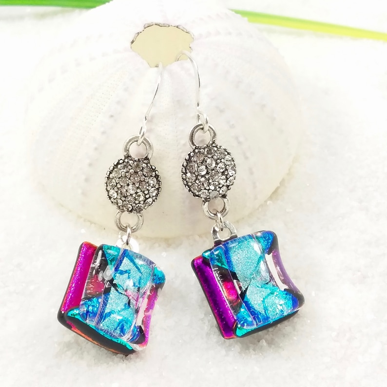 Dichroic glass jewelry Fused glass earrings Dichroic image 0