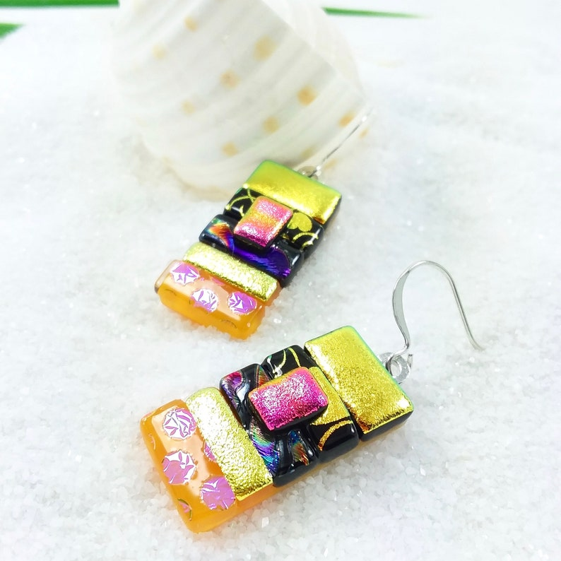 Dichroic glass earrings fused glass jewelry dichroic glass image 0
